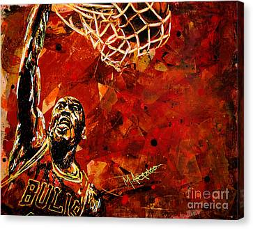 Dunk Canvas Print - Michael Jordan by Maria Arango