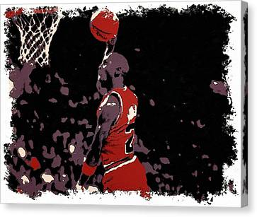 Michael Jordan Poster Art Dunk Canvas Print by Florian Rodarte