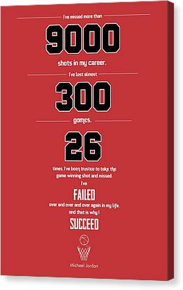 Michael Jordan Quote Sports Inspirational Quotes Poster Canvas Print by Lab No 4 - The Quotography Department