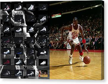 Michael Jordan Shoes Canvas Print by Joe Hamilton