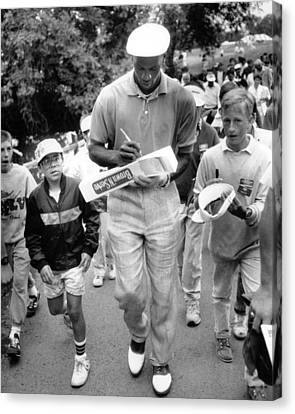 Michael Jordan Canvas Print - Michael Jordan Signing Autographs by Retro Images Archive