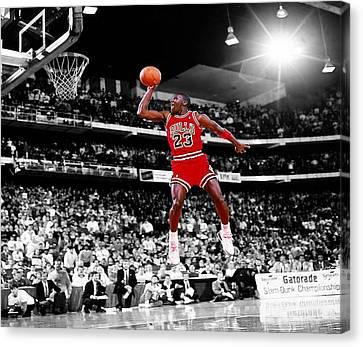 Michael Jordan Slam Dunk Contest Canvas Print by Brian Reaves