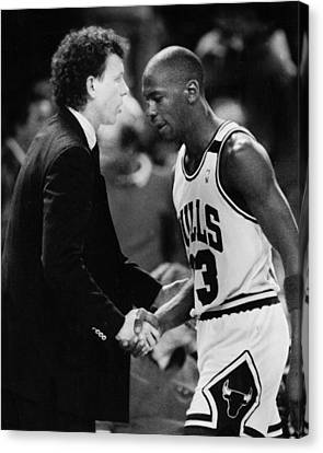 Michael Jordan Canvas Print - Michael Jordan Talks With Coach by Retro Images Archive
