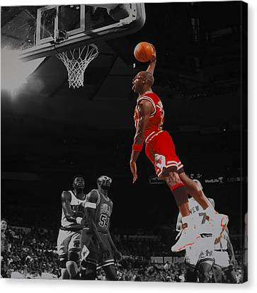 Michael Jordan Tongue Out Cradle Dunk Canvas Print by Brian Reaves