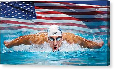 Swimmers Canvas Print - Michael Phelps Artwork by Sheraz A
