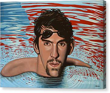 Swimmers Canvas Print - Michael Phelps by Paul Meijering