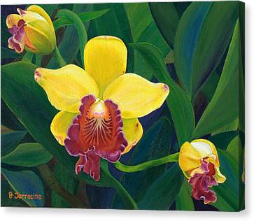 Canvas Print featuring the painting Michaela's Yellow Budda by Jodi Terracina