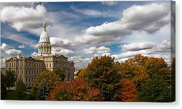 Michgan Capitol - Autumn Canvas Print by Larry Carr