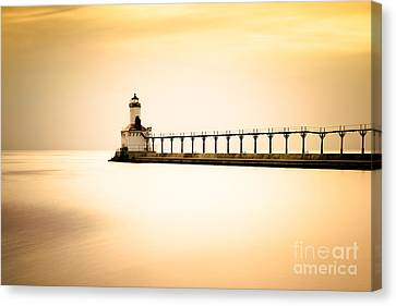 Michigan City Lighthouse At Sunset Picture Canvas Print