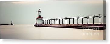 Michigan City Lighthouse Panoramic Picture Canvas Print