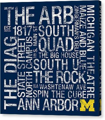 Mascots Canvas Print - Michigan College Colors Subway Art by Replay Photos