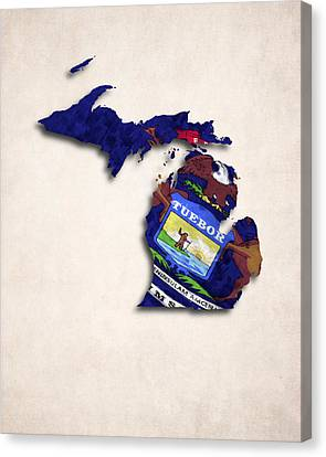 Michigan Map Art With Flag Design Canvas Print by World Art Prints And Designs