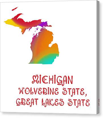 Michigan State Map Collection 2 Canvas Print by Andee Design