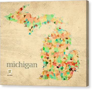 Michigan State Map Crystalized Counties On Worn Canvas By Design Turnpike Canvas Print