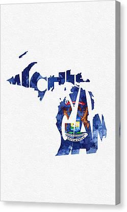 Michigan Typographic Map Flag Canvas Print by Ayse Deniz