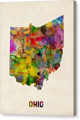 Ohio Watercolor Map Canvas Print by Michael Tompsett