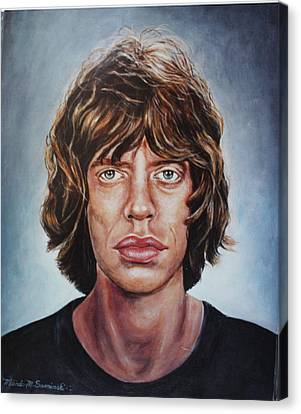 Canvas Print featuring the painting Mick Jaggar by Melinda Saminski