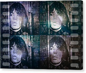 Mick Jagger - Collage Canvas Print by Absinthe Art By Michelle LeAnn Scott