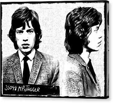 Rolling Stone Canvas Print - Mick Jagger Mugshot In Black And White by Bill Cannon