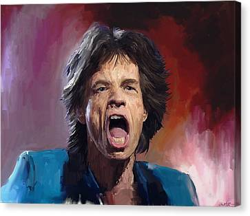 Mick Jagger Painting Canvas Print by Robert Wheater
