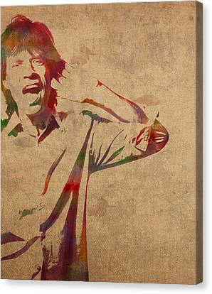 Mick Jagger Rolling Stones Watercolor Portrait On Worn Distressed Canvas Canvas Print by Design Turnpike