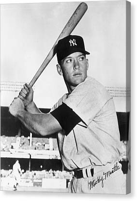 Mlb Canvas Print - Mickey Mantle At-bat by Gianfranco Weiss