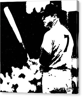 Mickey Mantle Drawing Canvas Print