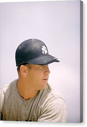 Mickey Mantle Ready To Swing Canvas Print by Retro Images Archive