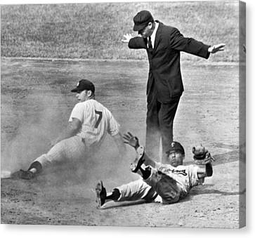 Baseball Canvas Print - Mickey Mantle Steals Second by Underwood Archives