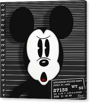 Mickey Mouse Disney Mug Shot Canvas Print by Tony Rubino
