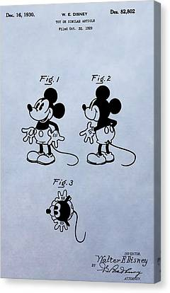 Toy Store Canvas Print - Mickey Mouse Patent by Dan Sproul