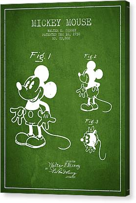 Mickey Mouse Patent Drawing From 1930 - Green Canvas Print