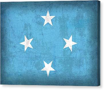Micronesia Flag Vintage Distressed Finish Canvas Print by Design Turnpike