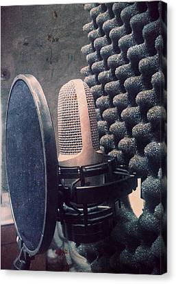 Microphone - In The Studio Canvas Print by Brian Howard