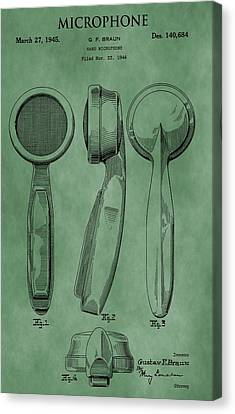 Microphone Patent Green Canvas Print by Dan Sproul