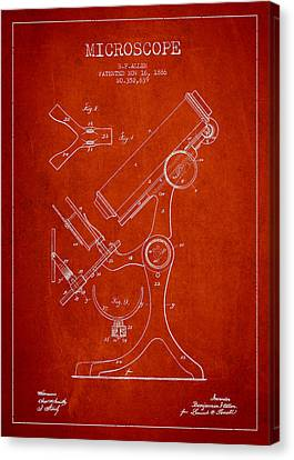 Microscope Patent Drawing From 1886 - Red Canvas Print by Aged Pixel
