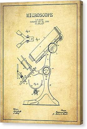 Microscope Patent Drawing From 1886 - Vintage Canvas Print by Aged Pixel