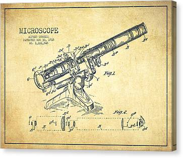 Microscope Patent Drawing From 1915-vintage Canvas Print by Aged Pixel