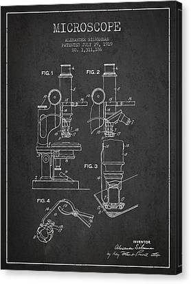 Microscope Patent Drawing From 1919- Dark Canvas Print by Aged Pixel
