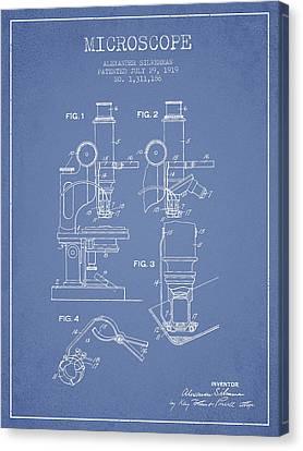 Microscope Patent Drawing From 1919- Light Blue Canvas Print by Aged Pixel