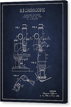 Microscope Patent Drawing From 1919- Navy Blue Canvas Print by Aged Pixel