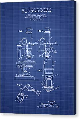 Microscope Patent From 1919 - Blueprint Canvas Print by Aged Pixel