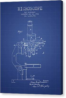 Microscope Patent From 1931 - Blueprint Canvas Print by Aged Pixel