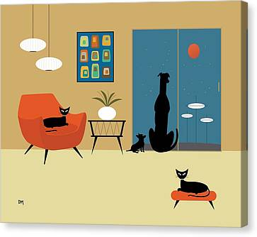 Atomic Canvas Print - Mid Century Dogs And Cats by Donna Mibus