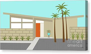 Mid Century Modern House 1 Canvas Print by Donna Mibus