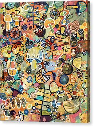 Mid Century Mushroom Madness Canvas Print