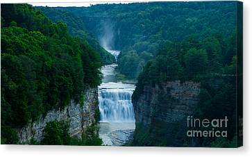 Middle And Upper Falls At Letchworth State Park Canvas Print