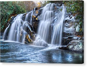 Middle Falls At Snowbird Creek Canvas Print by Debra and Dave Vanderlaan