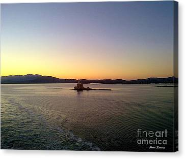 Canvas Print featuring the photograph Middle Sea Sunrise by Ramona Matei