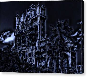 Midnight At The Tower Of Terror Canvas Print by Thomas Woolworth